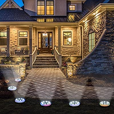 4 Pack Solar Powered Ground Lights - Doingart 8 LED Solar Path Lights Outdoor Waterproof Garden Landscape Lighting for Yard Driveway Lawn Pathway Walkway Disk Light