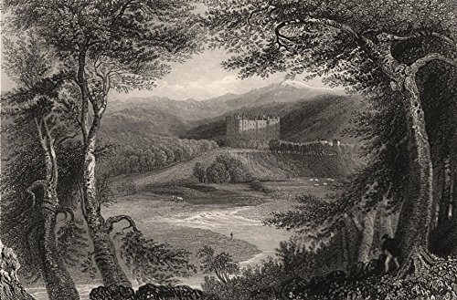 - Drumlanrig Castle. Dumfries-shire. Queensberry Estate. Scotland. BARTLETT - c1840 - old print - antique print - vintage print - art picture prints of Scotland