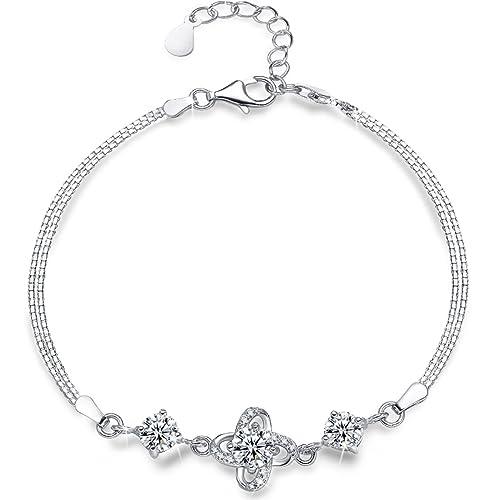 Presentski 925 Sterling Silber Armkette,Four Leaf Clover Klee Armband  Zirkonia Diamond Damen Armband Verstellbar Charm Armreif Muttertag  Geschenk  ... 158f25e995