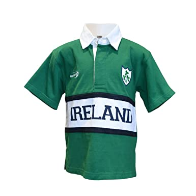 e283d5d50 Amazon.com: Kid's Short-Sleeved Green Ireland Rugby Shirt with White ...