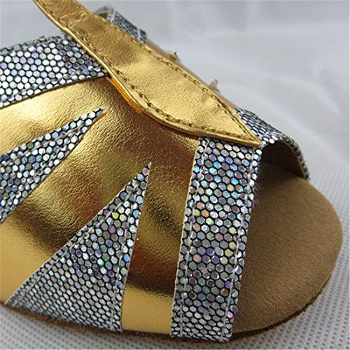 Tda Kvinners Mote T-strap Glitter Syntetisk Salsa Tango Ballroom Latin Moderne Dans Bryllup Sko Grå