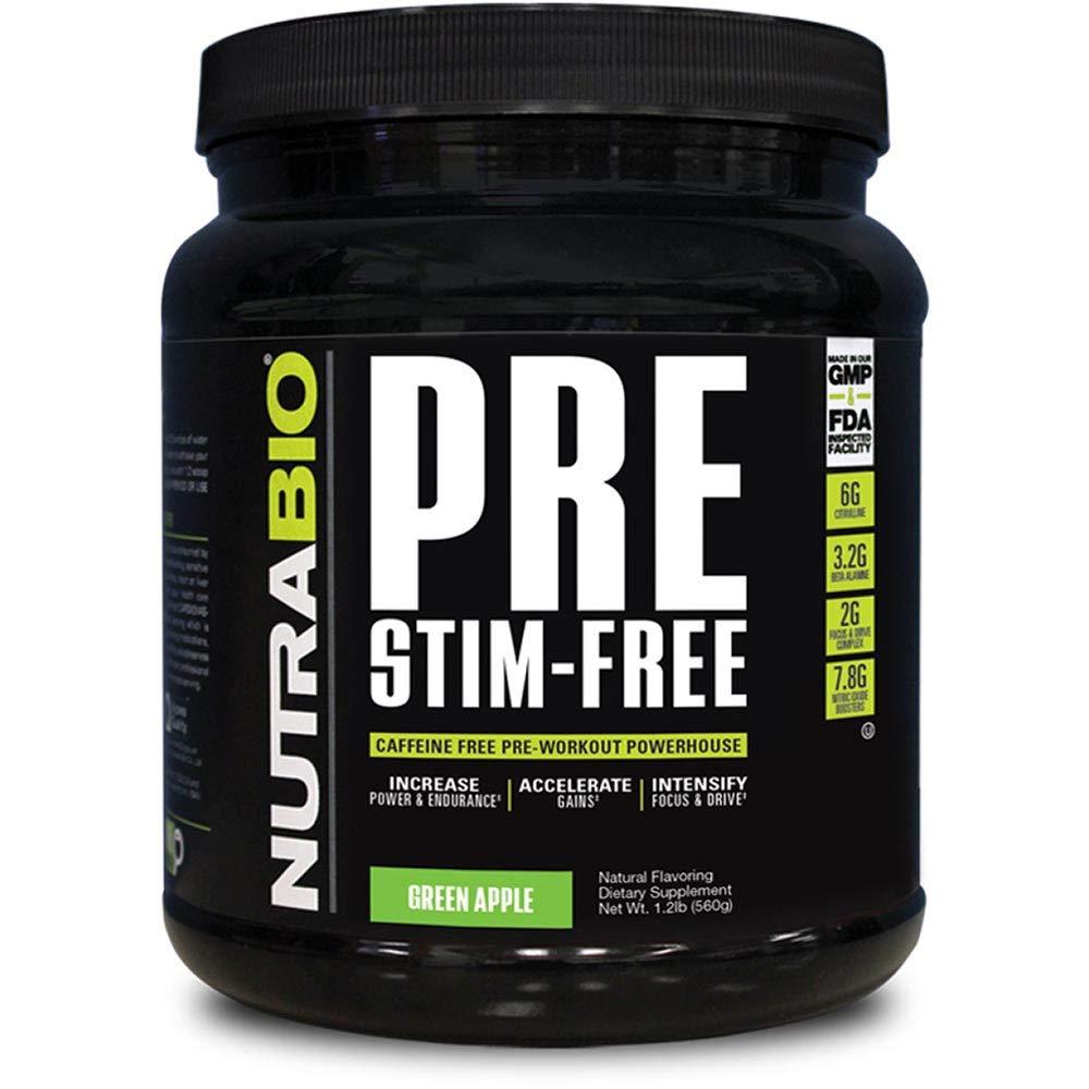 NutraBio PRE Stim Free - Caffeine Free Pre Workout (Green Apple)