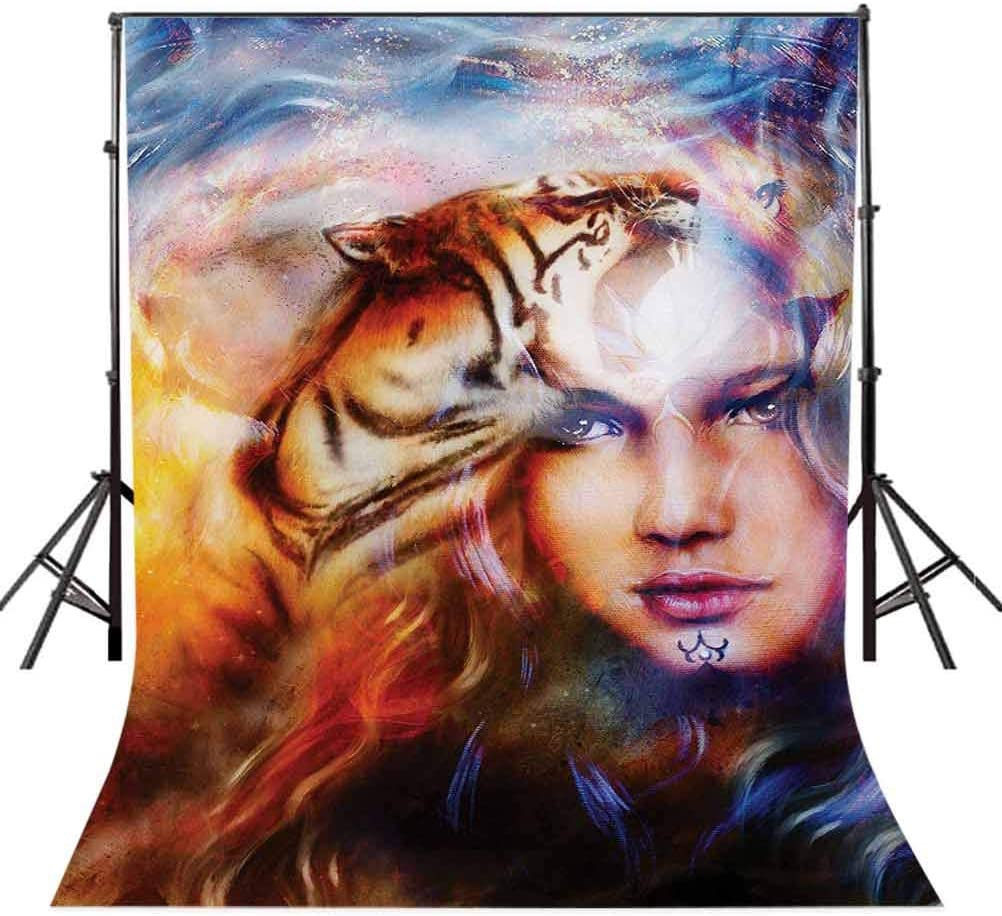 Mystic 8x10 FT Backdrop Photographers,Mighty Tiger and Lion Head with Woman Face on Ornamental Background Artwork Background for Party Home Decor Outdoorsy Theme Vinyl Shoot Props Yellow Brown Blue