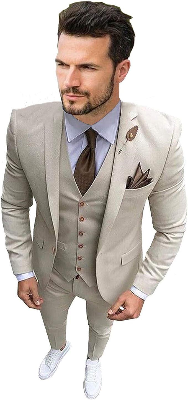 Amazon.com: Traje de hombre de 3 piezas para hombre Slim Fit ...