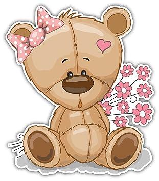 amazon com skylabel teddy bear with flowers bumper sticker vinyl rh amazon com Teddy Bear Picnic Clip Art Teddy Bear Clip Art Black and White