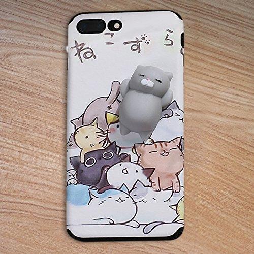 Pinzhi Cute Cartoon Phone Case für das iPhone 7 Plus, iPhone 7s plus 3D Cute Soft Silikon Pappy Squishy Katze