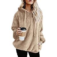 KOERIM Women's Warm Fuzzy Long Sleeve Oversized Sherpa Pullover Hoodie Pockets
