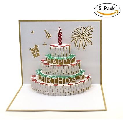 Amazon Pop Up Birthday Card5 Pack Breezypals 3d Birthday
