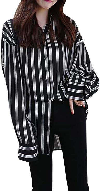 Fossen Camisas Mujer Tallas Grandes a Rayas Originales Flojo - Camisas Modernas para Mujer Juveniles Blusas y Camisas de Mujeres Moda: Amazon.es: Ropa y accesorios