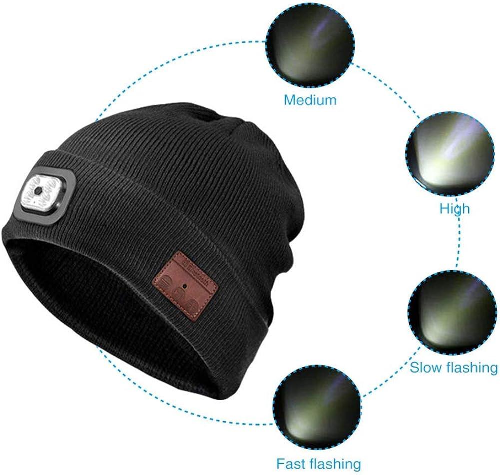 Randonn/éE en Plein Air None//Brand LED Beanie Hat avec Lumi/èRe sans Fil Bluetooth Beanie Hat Casquette dhiver Chapeau Musique sans Fil Cadeau pour Hommes Femmes Cyclisme Camping