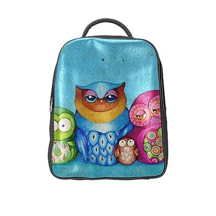Tamaño mediano mochila, diseño de búhos patrón diseño personalizado tamaño mediano bolso de escuela