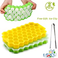 2 Pack Ice Cube Trays, Silicone Honeycomb Shape Ice Cube Molds wih Lids Make 74 Ice Cube for Whiskey, Cocktail…