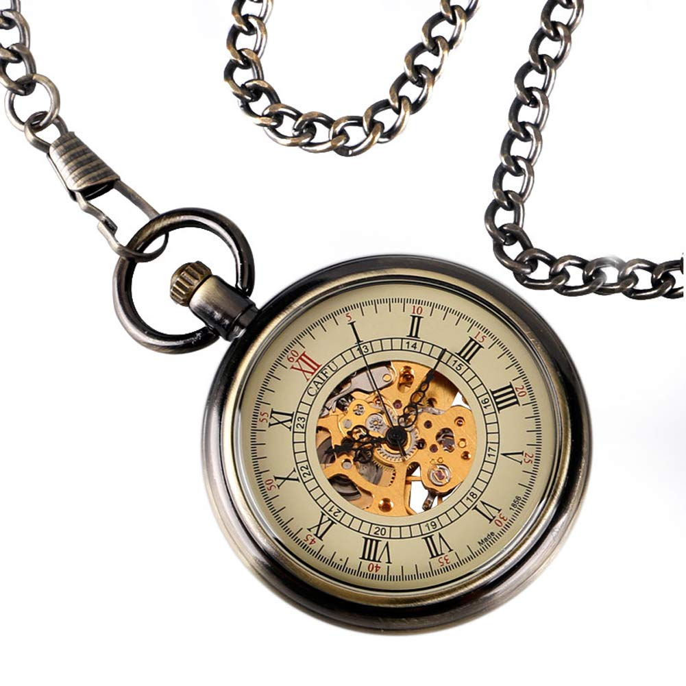 Classic Pocket Watch, Automatic Mechanical Pocket Watch for Men, Bronze Open Face Roman Numerals Pocket Watch Gift by mygardens (Image #4)