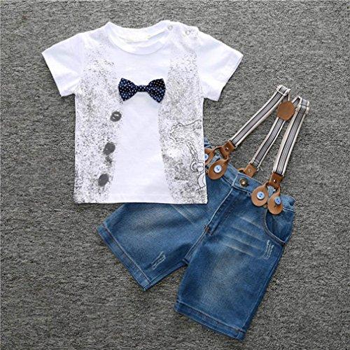 Saingace® 1Réglez Enfants Garçons T-shirt Handsome + Denim Trousers + Sangles Vêtements Tenues (2T)