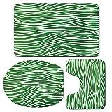 3 Piece Bath Mat Rug Set,Green,Bathroom Non-Slip Floor Mat,Zebra-Skin-Pattern-in-Vibrant-Green-Color-Wildlife-African-Safari-Animal-Print-Decorative,Pedestal Rug + Lid Toilet Cover + Bath Mat,Fern-Gre