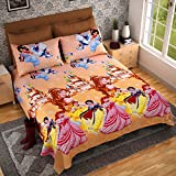 Baby Doll Princess Print Glazed Cotton Bedsheet For Double Beed With Two Plillow Covers - Latest Collection Print With Good Premium Quality Fabric For Baby Kids Girls Room Home Décor By Dream Weavers