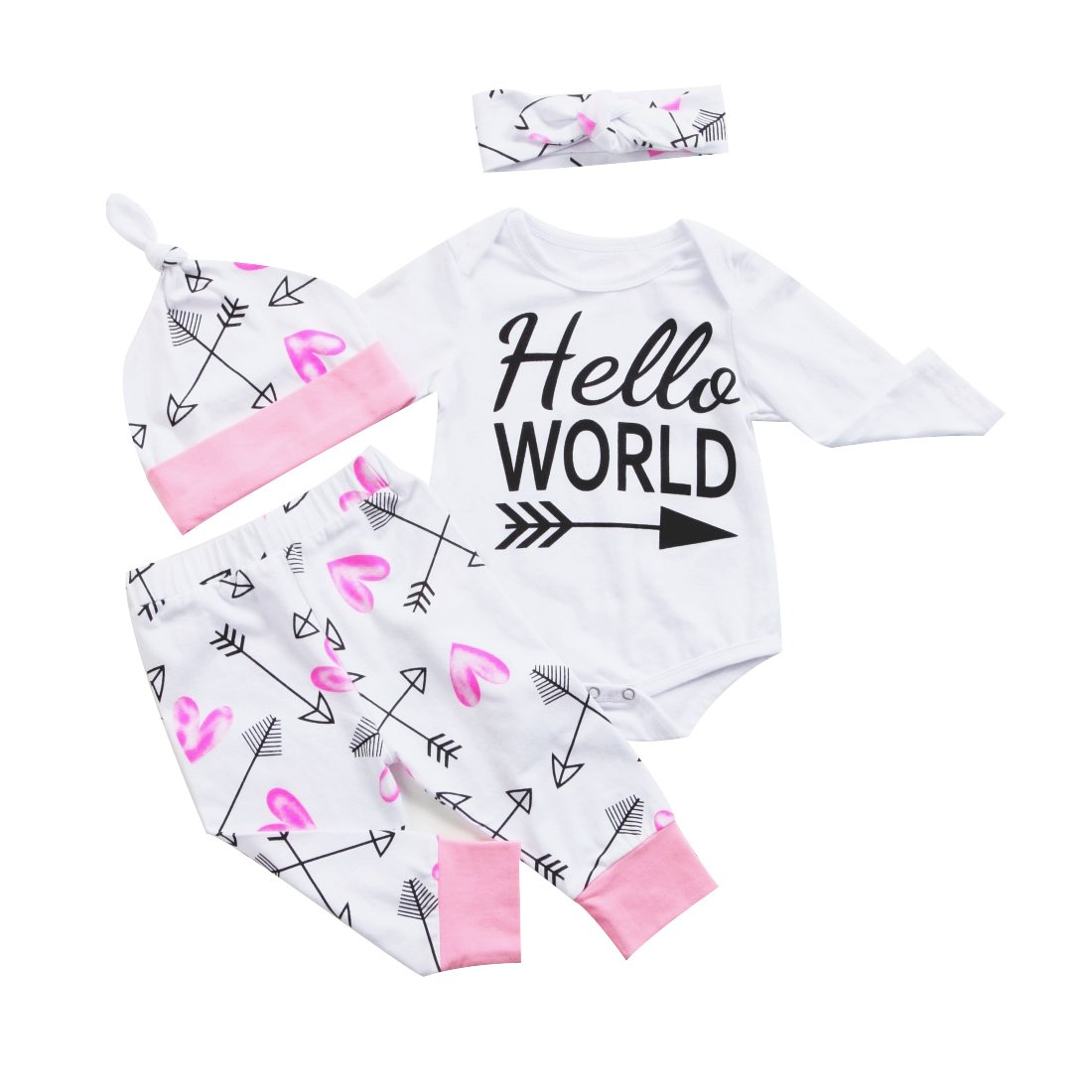 Newborn Baby Girl Outfit Long Sleeve Cute Romper Legging Pant With Headband Hat