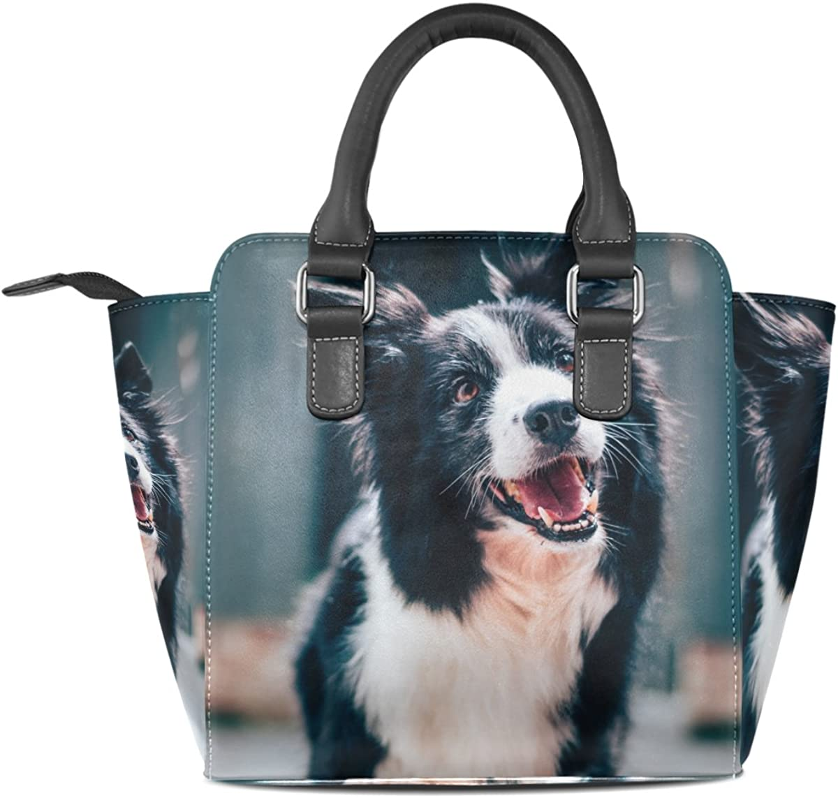 LIANCHENYI Cute Border Collie PU Leather Top Handle Handbags