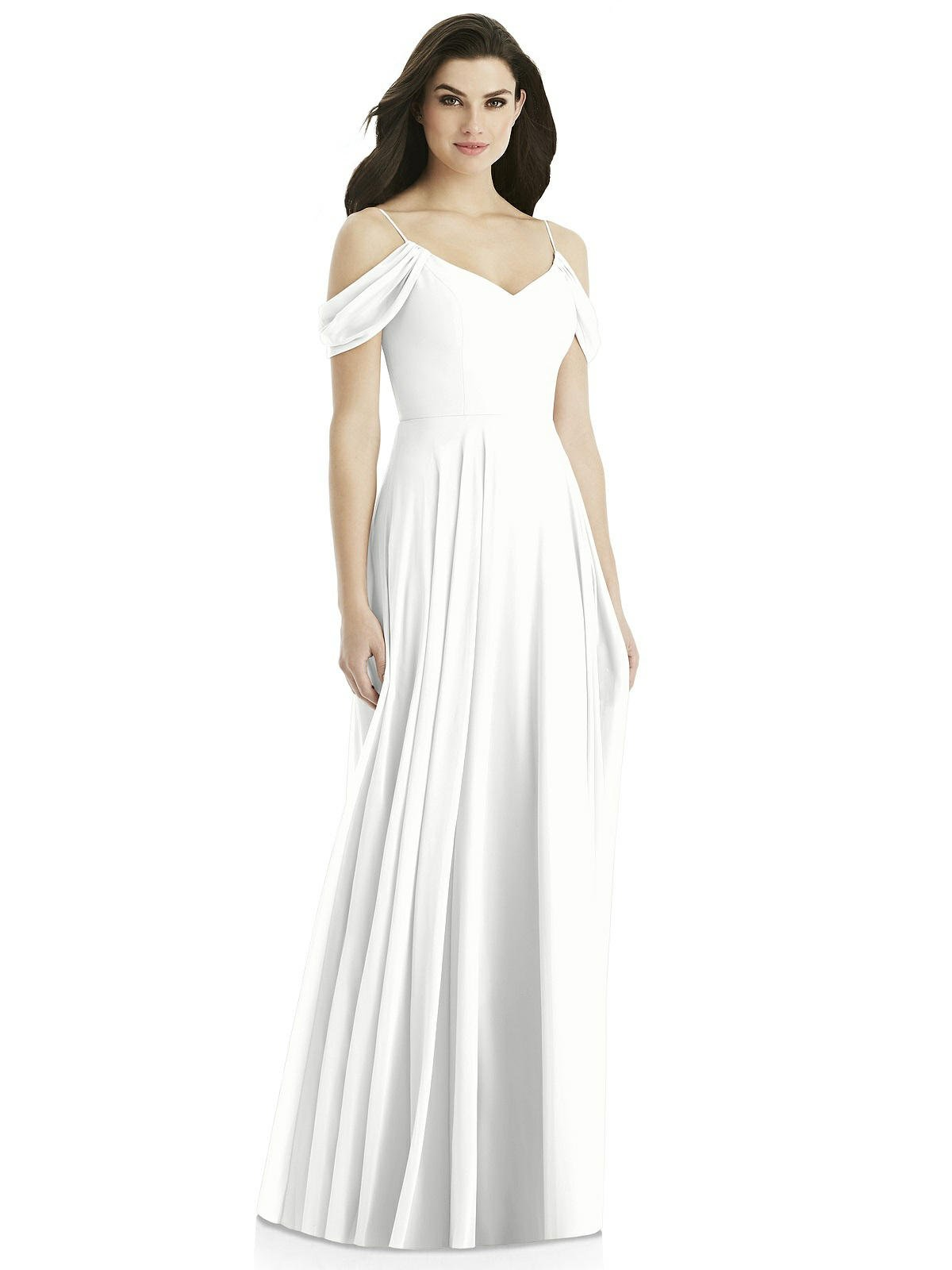 0f21fe2a285c Yilis Women's A Line Pleated Chiffon Off The Shoulder Bridesmaid Dress Long Formal  Wedding Evening Gown White 8