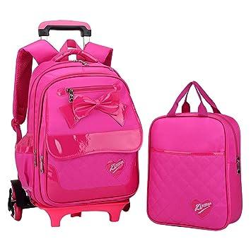 Amazon.com   Fanci 2Pcs Bowknot Princess Style Trolley School Book Bag for Girls  Boys Wheeled Backpack with 6 Wheels   Kids  Backpacks b4cb5cc6b6