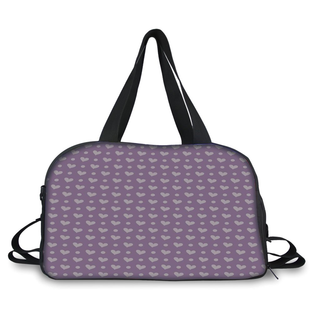 iPrint Travelling bag,Purple,Valentines Day Couple Wedding Bride Inspiring Heart Icon Design Image Decorative,Lavander and Purple ,Personalized