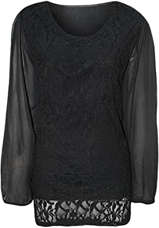 ce7250bc6a4 Islander Fashions Women s Plus Size Lace Lined Sheer Chiffon Long Sleeve  Blouse Top - Black -