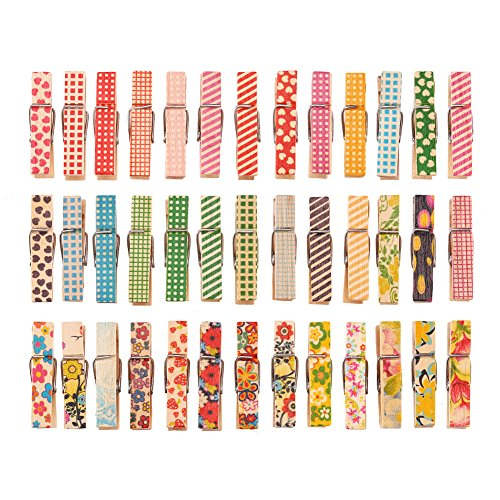 DECORA 3.5cm Colorful Painted Wood Clothespin 100 Pieces for Photo Clips Scrap Booking Crafts Gift Wrapping