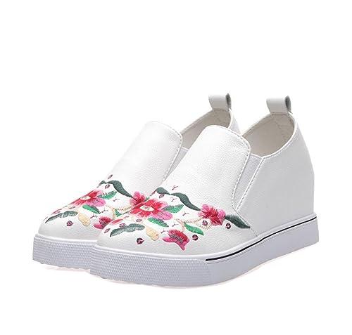 Mocasines para Mujer Zapatos Estilo étnico Bordado de la Manera Flores Ocultas Zapatos de Plataforma de