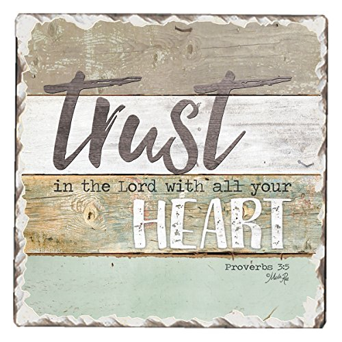 CounterArt Single Tumbled Tile Absorbent Coaster, Trust in The Lord with All Your Heart