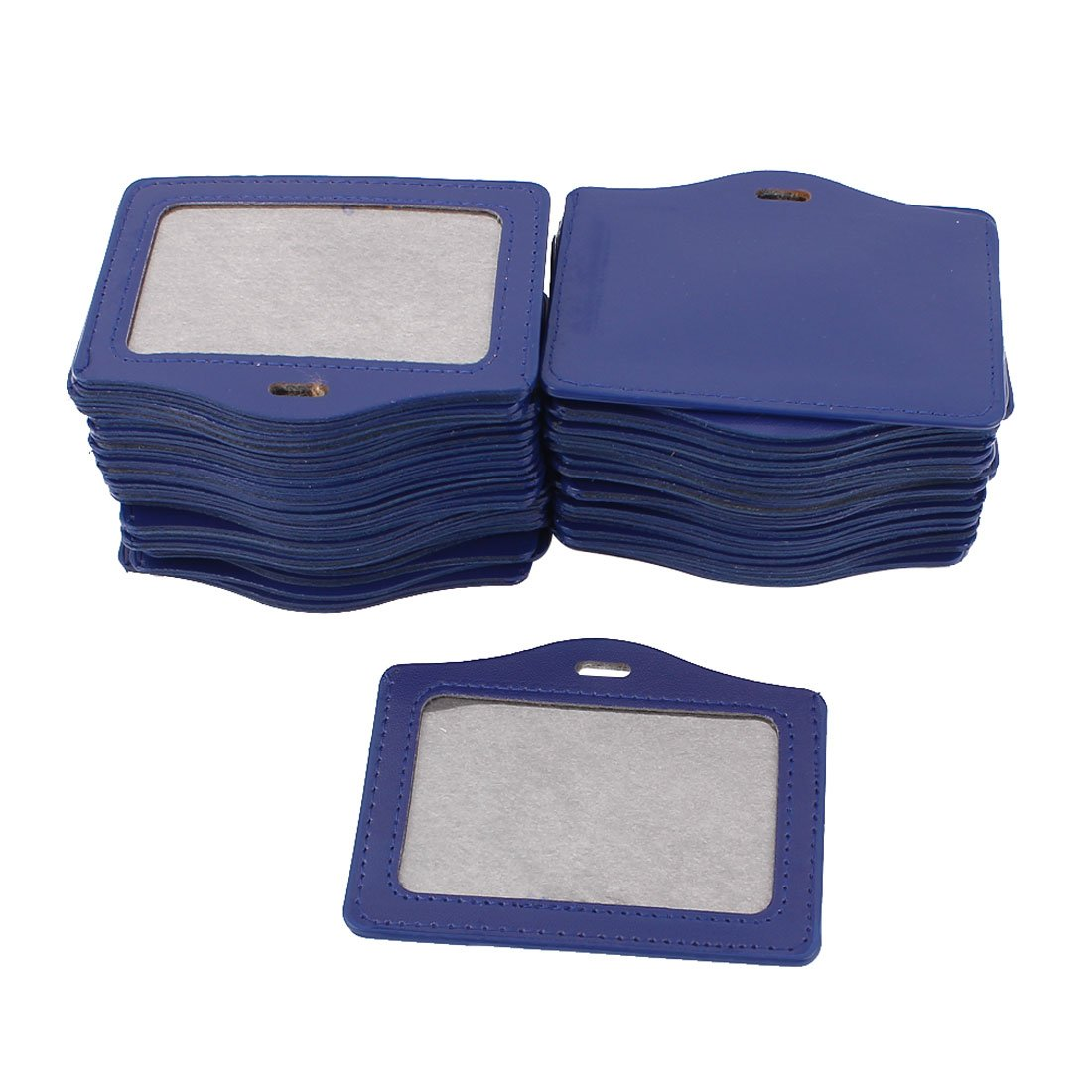 uxcell Faux Leather School Office Horizontal Business ID Badge Card Holder 50Pcs Blue