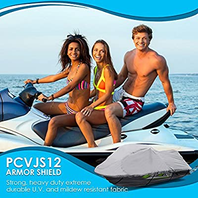 """Heavy Duty Jetski Storage Cover - 118"""" to 126"""" Marine Grade Boat Cover with Rear Air Vents, Waterproof & Weather Resistant Fabric & Elastic Cord for Tight Custom Fit - Pyle PCVJS12: Automotive"""