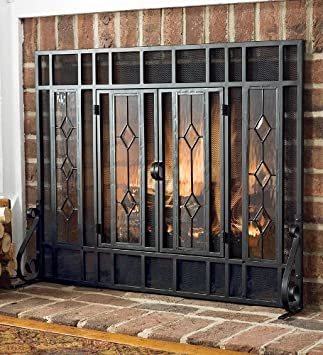 Amazon.com: Large Beveled Glass Diamond Fireplace Screen With ...