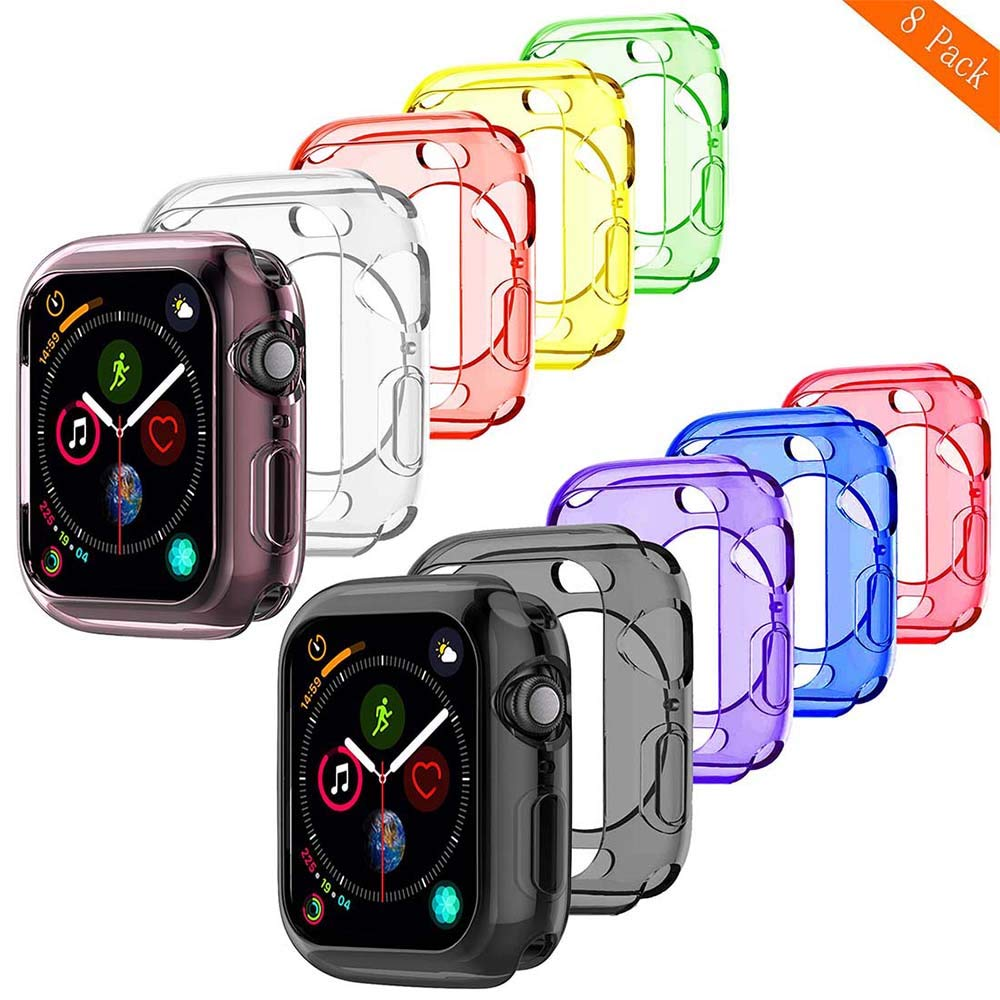 BOTOMALL for Watch Case 38mm 42mm 40mm 44mm, Clear Soft Protector Cover Case for iWatch Series 4 Series 3, Series 2, Sport, Edition (Colorful x8, 38mm) by BOTOMALL
