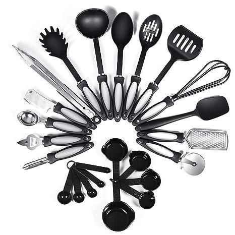 24-Piece Nylon & Silicone Cooking Utensils Kitchen Utensil set - Nylon &  Silicone Kitchen Utensils Set Best Kitchen Tools(BPA Free NON Toxic-24pcs  ...