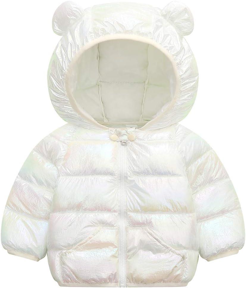 Bambino Invernale Giacca Cappotto con Cappuccio per Bambina Autunno Caldo Leggero Imbottito Prova di Vento Capispalla Blu 1-2 Anni