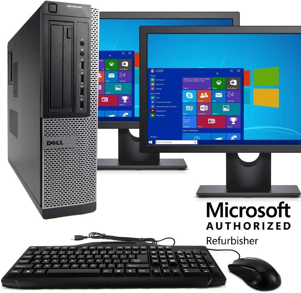 "Dell Optiplex 7010 Desktop PC, Intel Core i5-3470 3.2 GHz, 8GB RAM, 500GB HDD, Keyboard/Mouse, WiFi, Dual 17"" LCD Monitors (Brands Vary), DVD, Windows 10 (Renewed)"