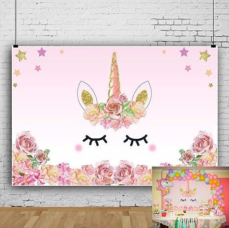 YongFoto 1,5x1m Fondo de Fotografia Unicornio Rosa Rosas Fiesta Borde Las Flores Patrón Lindo Estrella Oro Telón de Fondo Cumpleaños Fiesta Baby ...
