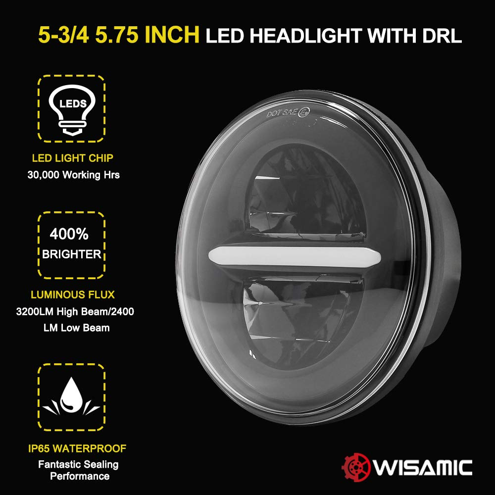 Wisamic 5-3//4 5.75 inch LED Headlight with DRL Compatible with Harley Davidson Dyna Street Bob Super Wide Glide Low Rider Night Rod Train Softail Deuce Custom Sportster Iron 883 Black