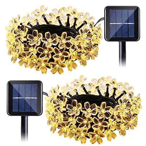 Qedertek Solar String Lights Flower, 2 Pack 22ft 50 LED Waterproof Outdoor Decoration Lighting for Patio, Lawn, Garden, Christmas, and Holiday Festivals ( Warm white)