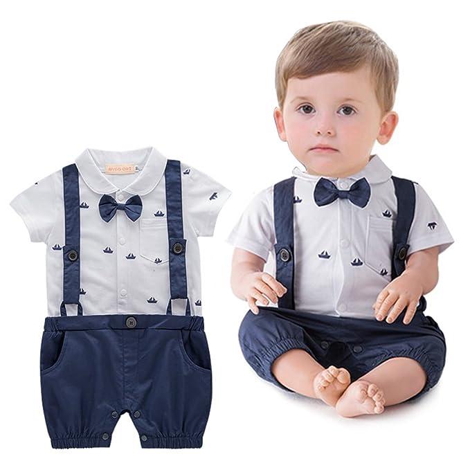 b6805aa94 ARAUS Gentleman Suit Tuxedo Baby Boy Short Sleeve Faux Suspender Romper  Formal Outfit