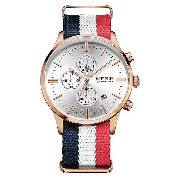 Amazon.com: MEGIR Mens Watches Fashion Rose Gold Quartz Wristwatches Canvas Strap relojes: Watches
