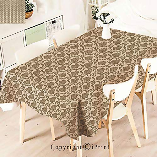 Premium Polyester Printed Tablecloth,Antique Motif with Classical Elements Baroque, Idle for Grand Events and Regular Home Use, Machine Washable,W55 xL55,Cream Sepia
