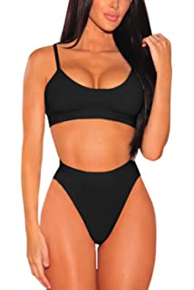 9a91b103bf361 Pink Queen Women s Push Up Pad High Cut High Waisted Cheeky Two Piece  Swimsuit
