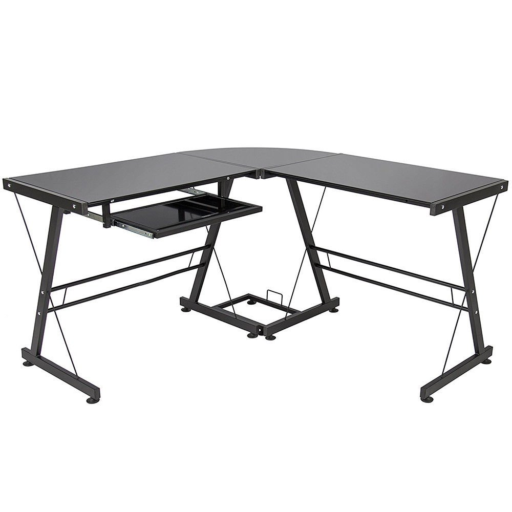 3-Piece Corner Desk, Black with Black Glass Corner L-Shape Office Computer Desk PC Stalinite Laptop Table Workstation Home