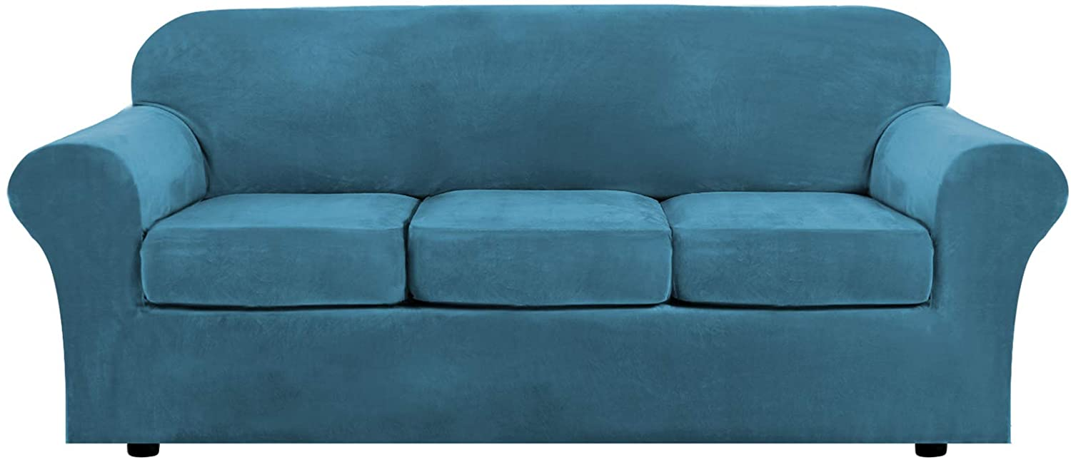 Modern Velvet Plush 4 Piece High Stretch Sofa Slipcover Strap Sofa Cover Furniture Protector Form Fit Luxury Thick Velvet Sofa Cover for 3 Cushion Couch, Machine Washable(Sofa,Peacock Blue)