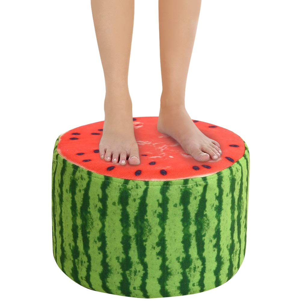 Footrest Stool Decorative Furniture Without Storage MORYSONG Upholstered Ottoman Stool Home D/écor Creative Non-Slip Sofa Stool for Changing Shoes Toys Vivid Fruit Modeling Wood Round Shoe Stool