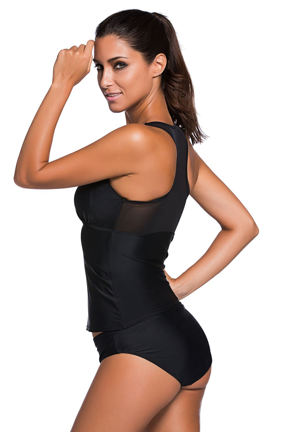 d934572bfe053 Mesh insert tankini swim top for sporty and fashionable look. Matching swim  bottom with full-coverage rear for comfortable fit. Stylish two-piece  swimsuit ...