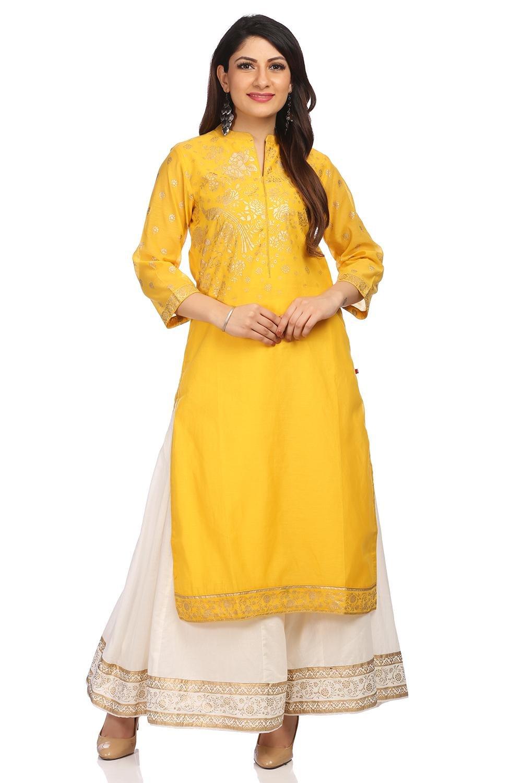 BIBA Women's Yellow Straight Poly Cotton Kurta Size 34