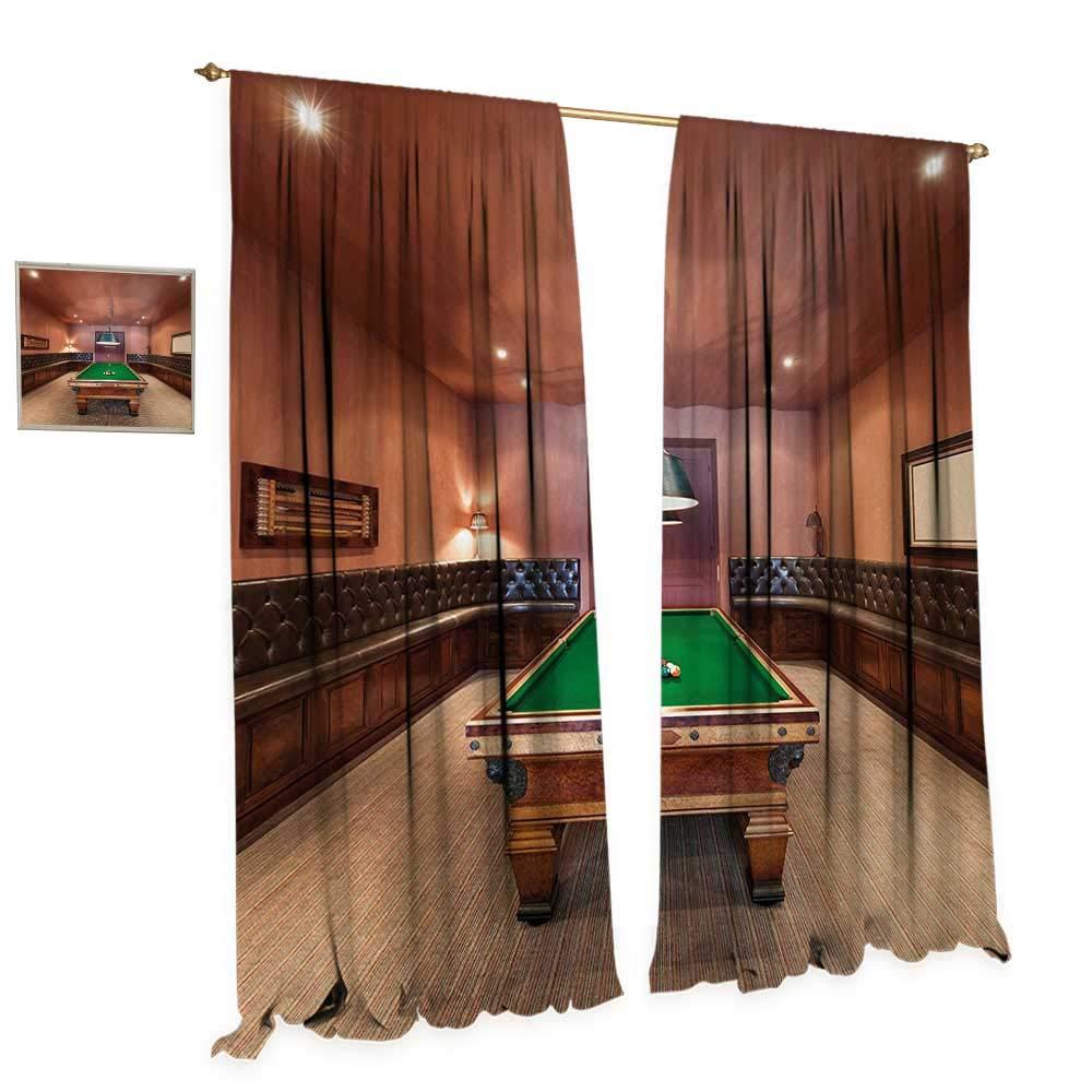 Anniutwo Modern Blackout Window Curtain Entertainment Room in Mansion Pool Table Billiard Lifestyle Photo Print Customized Curtains W108 x L108 Cinnamon Brown Green