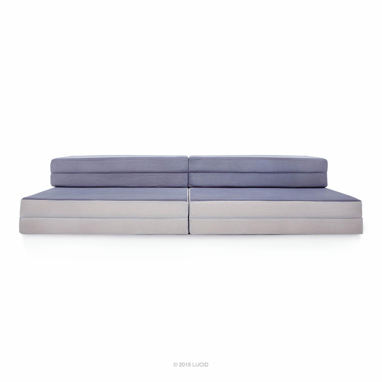 LUCID King / Twin XL Convertible Folding Foam Mattress-Sofa - Folds to 8 in. Twin XL Mattress, 4 in. King Mattress or a Sofa